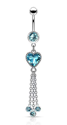Forbidden Body Jewelry Surgical Steel Dangle Belly Button Ring Featuring CZ Heart and Chains, Aqua
