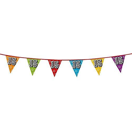 Boland 30015 - Holografische Wimpelkette Zahl 15, 1 Stück, Länge 800 cm, Fahnenkette, Sterne, Hängedekoration, Mehrfarbig, Girlande, Mottoparty, Geburtstag, Jubiläum