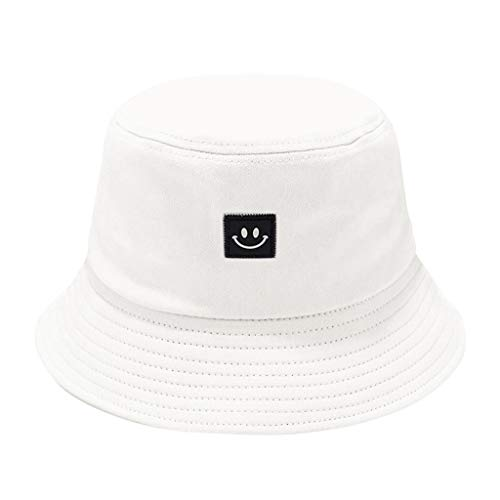 Ruinono Unise Hat Summer Travel Bucket Beach Sun Hat Smile Face Visor (White, One Size)