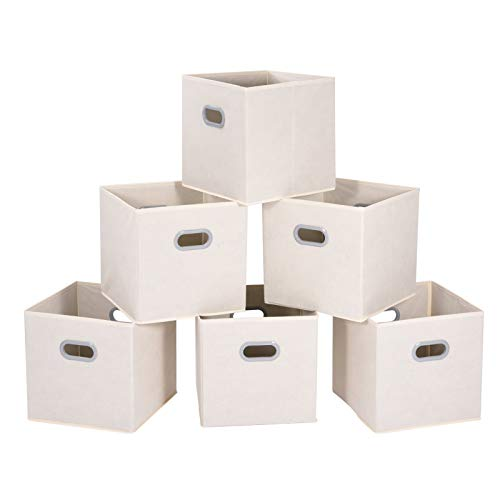 MaidMAX Cloth Storage Bins Cubes Baskets Containers with Dual Plastic Handles for Home Closet Bedroom Drawers Organizers Foldable Beige 12×12×12″ Set of 6
