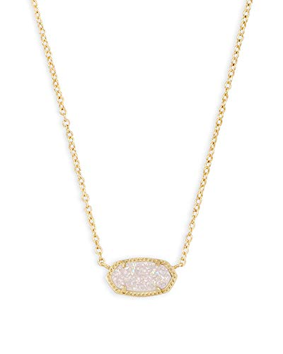 Kendra Scott Elisa Adjustable Length Pendant Necklace for Women, Fashion Jewelry, 14k Gold-Plated, Iridescent Drusy