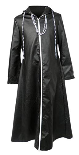 CHIUS Cosplay Costume Leather Cloak for Organization XIII Young Xehanort Ver 2 Black