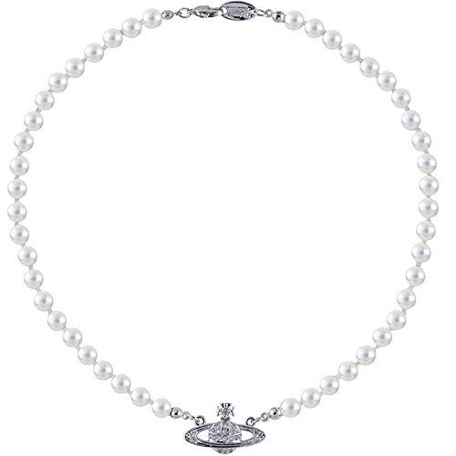FPOJAFVN Saturn Pearl Halskette, Klassisches Design Retro Einfach Zu Passender Hip Hop Rock Saturn Pearl Halskette, Schmuck Valentinstag Personalisierte Geschenke Für Frauen,Silber