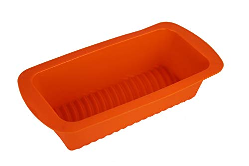 GMMH Original - Molde de silicona para hornear o pan, diseño de rayas, color naranja