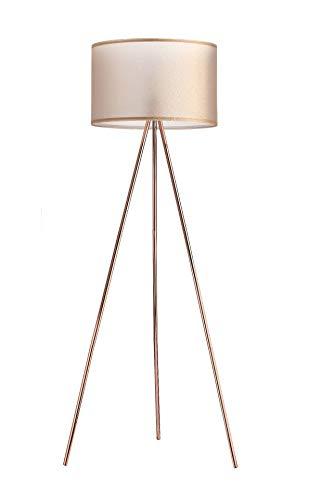Modernluci Stehlampe Stativ Modern Stehleuchte Kupfer für das Wohnzimmer, Schlafzimmer Lampen, Zeitnah Stehlampe Tripod Skandinavischer Stil mit Textilschirm ø 45cm Höhe:150cm Kupfer