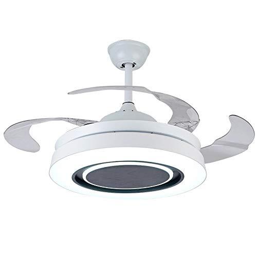 OUPPENG Lámpara de Ventilador Ventilador invisible Dormitorio de comedor con luz nocturna Bluetooth Audio Audio Fan Light Modern Minimalista Sala de estar Ventilador de techo (Blade Color : 1)