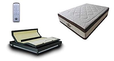 "DynastyMattress DM9000s Adjustable Base 4 Motors, Lumbar Support, Massage, Head & Foot Tilt, Underbed Light, USB Ports with 15.5"" AtlantisBreeze Gel Memory Foam Mattress"