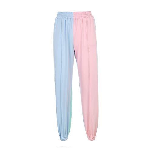 CML Contrast Color Baggy Frauen Jogger Sweatpants Casual Rosa Blau Patchwork Hohe Taille Hose Weibliche Hip Hop Streetwear (Color : Multi, Size : M)