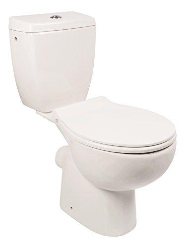 'aquaSu® WC-Kombination ohne Spülrand   Stand-WC   Randloses WC   Inklusive Spülkasten und WC-Sitz mit Soft-Close-Absenkautomatik   Tiefspüler   Abgang waagerecht   Weiß