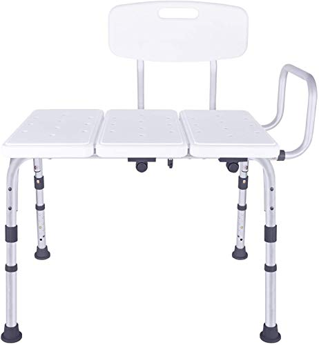 Vaunn Adjustable Shower Transfer Bench, Shower Chair for Adults and Seniors with Backrest