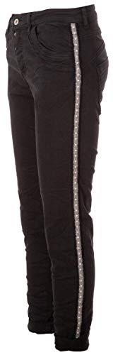 Basic.de Damen-Hose Skinny mit Kontraststreifen aus Metall-Nieten Melly & CO 8176 Schwarz M