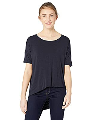 Amazon Brand - Daily Ritual Women's Jersey Rib Trim Drop-Shoulder Short-Sleeve Scoop-Neck Tunic Shirt, Navy, Large