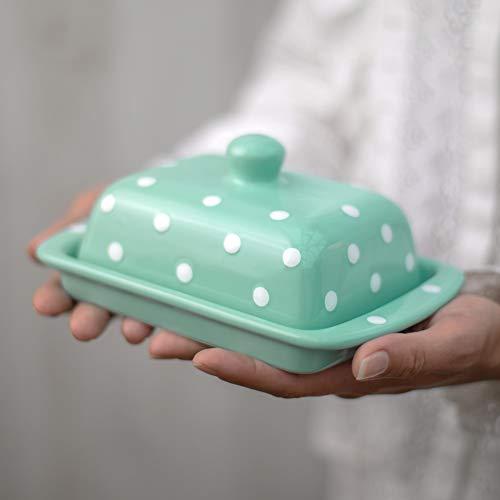 City to Cottage Beurrier bleu turquoise à pois blancs en céramique fait et peint à la main