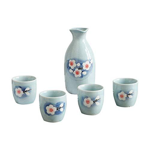 SHENGYUAN Juego de 5 Piezas de Sake Retro japonés, Jarra de cerámica para Licor, 1 Olla, 4 Tazas, Bar casero, Sake, Vino Blanco