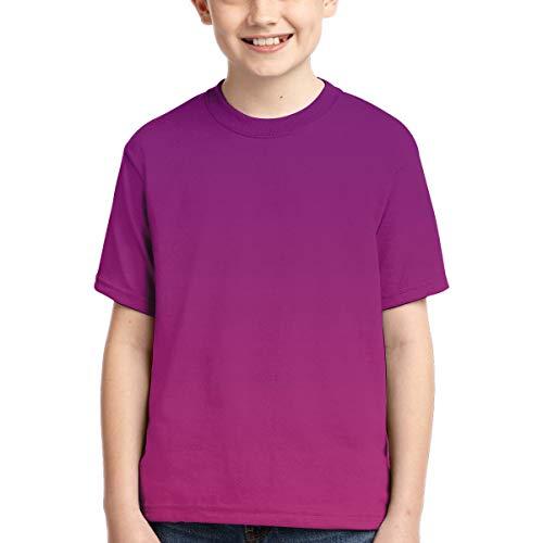 YudoHong Camisetas para niños Azul y púrpura Ombre Wallpaper Active Athletic Performance Crew T-Shirt