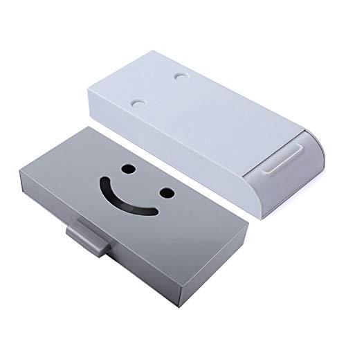 Gwotfy 2 piezas Caja de cajones colgantes, organizador debajo del escritorio, cajón organizador de escritorio autoadhesivo, organizador de escritorio oculto para oficina, hogar, escuela (gris)