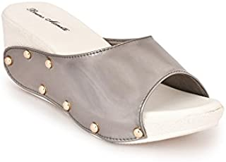 Bruno Manetti Women Grey Patent Leather Wedges