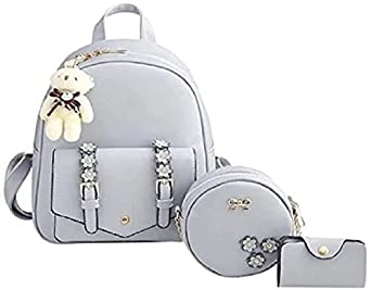Star Dust Fashion Girls 3-PCS Fashion Cute Stylish Leather Backpack & Sling Bag Set for Women, School & College Girls/Leather Bagpack Set for Women Ideal for All Age Group