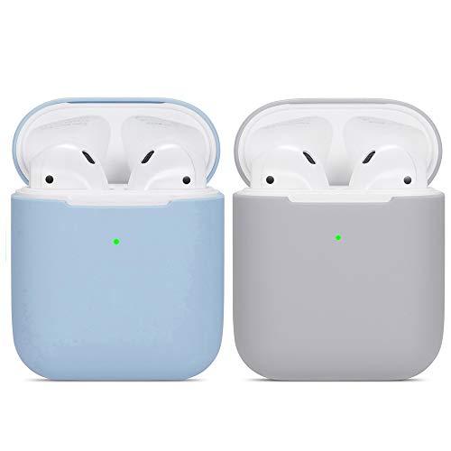 kompatibles Airpods Hülle,Watruer 2er-Pack Ultra-dünnes, weiches Silikon, stoßfestes, rutschfestes Schutzzubehör Schutzhülle für Apple Airpods 2 und 1-Ladekoffer - Hellblau + Grau