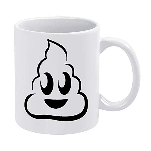 N\A Lustige Kaffeetasse Poop Face Logo Symbol 11oz & 15oz Lustiges Sprichwort Kaffeetasse Kaffeetasse Spezielle Tasse Arbeitsbecher Bürobecher Haus Kaffeebecher