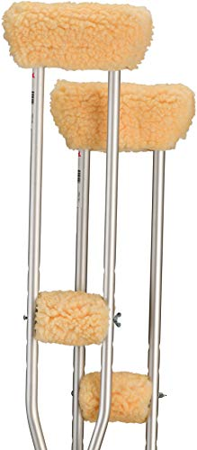 NOVA Medical Products Sheepskin Fleece Crutch Pads, Universal Fit Padded Cushion Fleece Accessories for Underarm Crutches, One Pair Each of Underarm and Hand Grip Covers, Washable