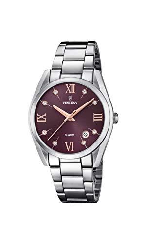 Festina Damen Analog Quarz Uhr mit Edelstahl Armband F16790/E