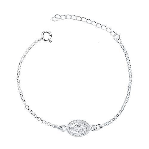 Iyé Biyé Jewels - Pulsera niña Mujer Plata de Ley 925 Virgen Milagrosa 15 + 4 cm Ajustable Cadena Forzada Ajustable