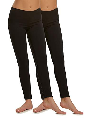 Felina | Cotton Modal Leggings | Lightweight | Breathable | 2-Pack (Black, Large)