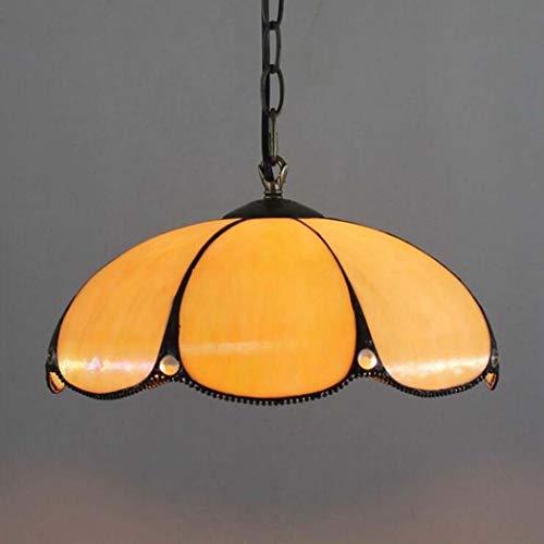 Tiffany-Stil Hängelampe Jeweled Kronleuchter orange Buntglas-Weiß Antike Vintage...