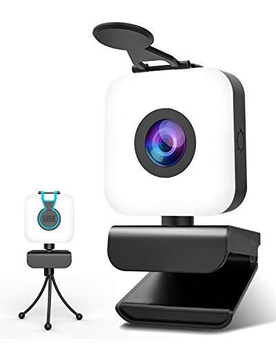 Webcam 1080P Full HD con Microfono,MHDYT Web Cam per PC con Anello di Luce Streaming Videocamera PC USB 2.0 Autofocus Webcam Cover e Treppiede Regolabile per Windows, Mac OS, Androd Smart TV