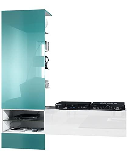 Vladon Combinaison Murale Manhattan, Corps en Blanc Mat/Façades en Blanc Haute Brillance, Panneau en Turquoise Haute Brillance