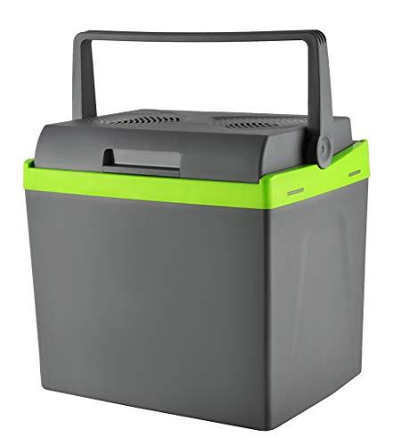 MALATEC Kühlbox Grau 25l 12V/220V Kühlen + Heizen Bequemer Griff Gewicht 4kg Lange Kabel 7845, Größe:25L