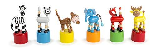 Small Foot 11119 Drückfiguren Wildtiere aus Holz, 6-er Set, Gastgeschenk an Kindergeburtstagen Spielzeug, Mehrfarbig
