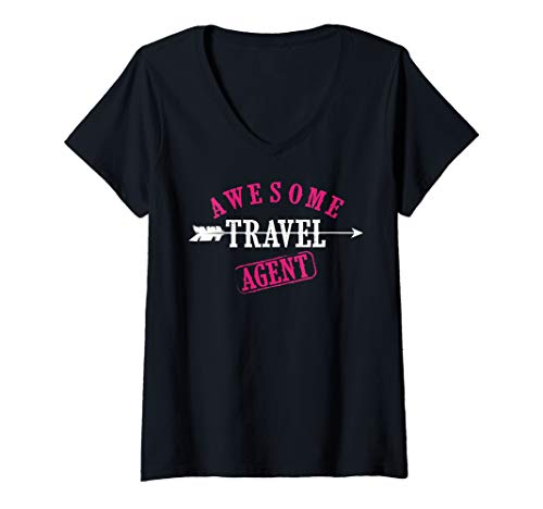 Womens Awesome Travel Agent Art | Cute I'm A Travel Agent Gift V-Neck T-Shirt