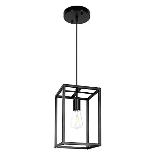 Lantern Chandelier, Black Pendant Light Modern Farmhouse Lighting Fixture Rustic for Dining Room, Kitchen Island, Hallway (1 Light Black)