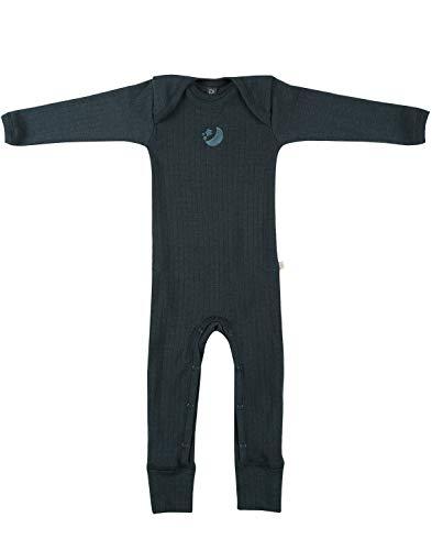 Dilling Baby Overall in Rippstrick aus 100% Bio-Merinowolle Dunkelpetrol 74