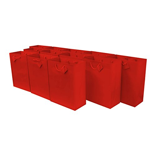 7.5x3.5x9' 12 Pcs. Medium Red Premium Quality Paper Gift Bags with Handles, Party Favor Bags for Birthday Parties, Weddings, Holidays and All Occasions