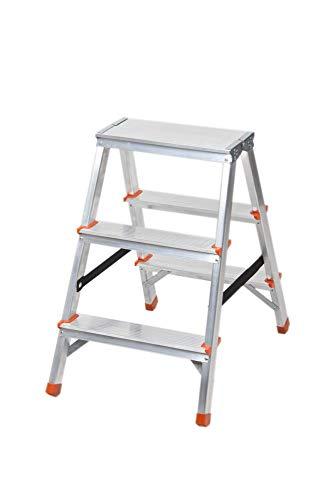 Aluminium Trittleiter beidseitig begehbar 3 Stufen Sicherheitsbügel 125kg Belastbar Stufenleiter Klappleiter Klapptrittleiter Leiter Klappbar Haushaltstritt Innen Außen Einfach Verstauen
