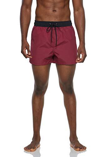 Arcweg Bañadores Hombres de Natación Pantalones Cortos de Playa Hombres Deportes Secado Rápido Ajustable Cómodo Actividad Acuáticos Burdeos y Negro M