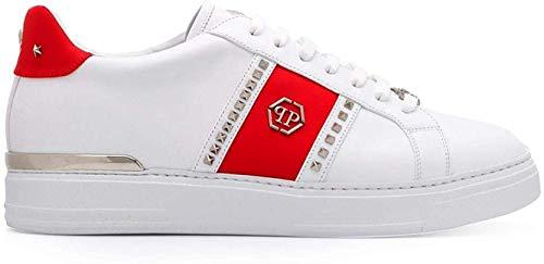 Philipp Plein Sneakers aus weißem Leder mit seitlichem Band ED Einsatz aus Metall, Weiß - weiß - Größe: 41.5 EU