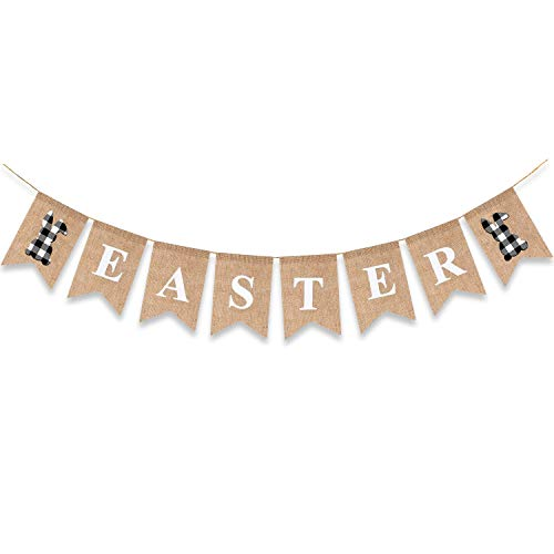 Easter Banner Bunny Burlap Mantel Garlands Black White Buffalo Plaid Bunting Home Decoration Sign Supplies