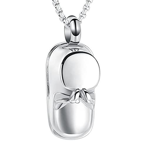 Liart Colgante de Recuerdo de Urna para Mujeres Hombres Cenizas Zapato de Bebe Collar de Urna Conmemorativa Acero Inoxidable Joyas de Cremación