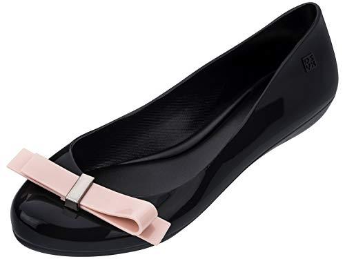 Zaxy Dames Pop Stijlvolle Plastic Slip Op Ballet Platte Zwart Contrast