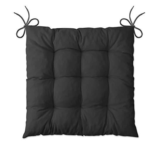 LILENO HOME 1er Set Stuhlkissen Schwarz (40x40x6 cm) - Sitzkissen für Gartenstuhl, Küche oder Esszimmerstuhl - Bequeme UV-beständige Indoor u. Outdoor Stuhlauflage als Stuhl Kissen