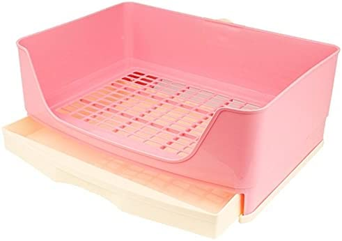 Sanitario Gato Caja de arena de conejo grande con caja de cajones, caja de inodoro de la esquina de la esquina de la cornería de la pet de mascotas con la rejilla para la operación fácil, mascota más