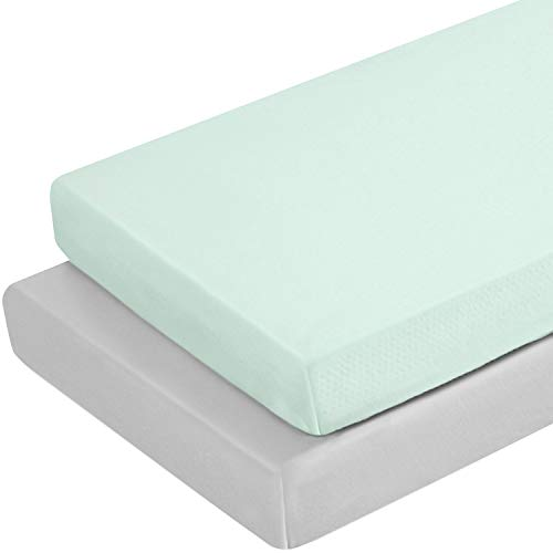 TILLYOU Jersey Knit Portable/Mini-Crib Sheets, Pack and Play Sheet Set for Boys Girls, Ultra-Soft Breathable Playard Playpen Sheets, 2 Pack, Lt Green & Lt Gray