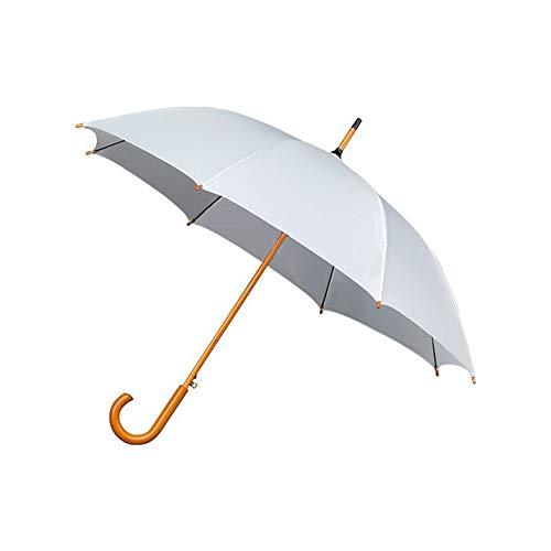 Dames paraplu, lang, ideaal voor bruiloft en ceremonie, automatisch openingssysteem, robuust, met handvat en handvat van hout, wit