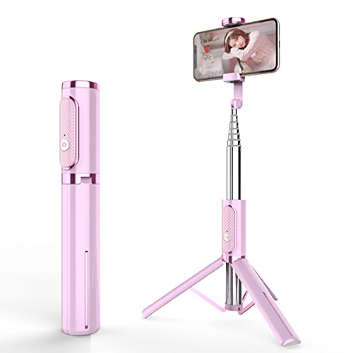 Yunbai Selfie Stick Tripod, trípode de teléfono móvil retráctil, 360 ° Giratorio, Compatible con teléfonos móviles y cámaras (Color : Pink)