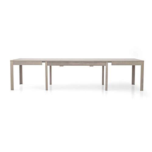 Milani Home s.r.l.s. Tavolo da Pranzo Moderno di Design Allungabile A Consolle Rovere Grigio Cm 90 X 160/203/246/289/332 per Interno Sala da Pranzo
