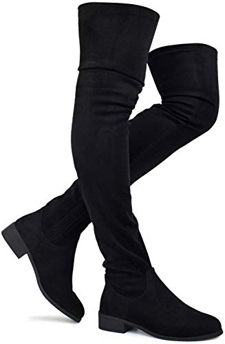 Women's Fashion Comfy Vegan Suede Block Heel Side Zipper Thigh High Over the Knee Boots , TPS Olympia-20 v2 Black Size 8